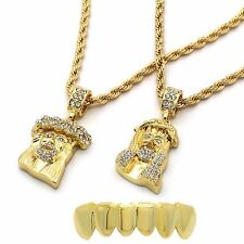 """Mens 14k Gold Plated 2 pcs set of Jesus 4mm 30"""" & 24"""" Rope chain Bottom Grillz"""