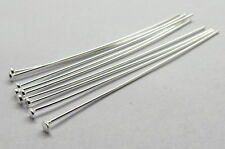 Head Pins 925 Sterling Silver 50 mm Long 22 Gauge Wire (0.7mm) Thick 10 Pieces