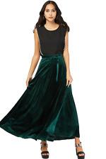 12 M Extra Long Green Velvet Flared Evening Party Skirt + Tie Belt Gothic Boho