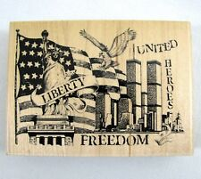 Twin Towers Freedom USA Rubber Stamp Inkadinkado New York 9/11 Heroes Liberty