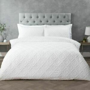 Geo Tufted White Duvet Cover bedding Set with Pillowcase Single Double King Size