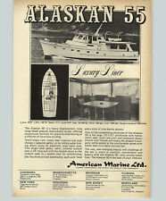 1971 Paper Ad Boat Cruiser Alaskan 55 American Marine Diesel Staterooms Hynautic
