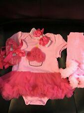 AISHIONY 4 Piece Baby Girl 1st Birthday Tutu Outfit Princess Dress 9-12 Pink New