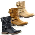 Ladies Womens Low Flat Heel Western Cowboy Biker Buckle Ankle Boots Shoes Size
