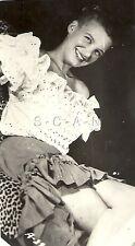 Original Vintage 1940s-50s Semi Nude RP- Skinny Blond- Leopard Skin Chair- Dress
