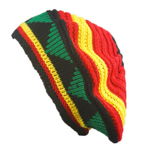 Unisex African Jamaican Marley Rasta Beanie Hat Reggae Hair Wrap Cap  w--
