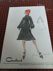 Vintage fashion sketches clothing design mid-century stat sheets designer art