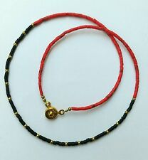 Afghan Natural Coral, Black Glass, Brass Tiny Beads Necklace Handmade 16 inches