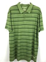 Life is Good Mens Short Sleeve Polo Shirt Green Striped Large