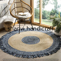 Reversible Round Braided Natural & Multi Colour Jute Denim Cotton Rug Floor Rags