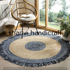 Reversible Round Braided Natural & Multi Colour Jute Denim Cotton Rug Floor Rags