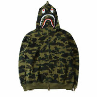 Bathing Ape BAPE Men's Shark Jaw Camo Full Zipper Hoodie Sweats Coat Jacket