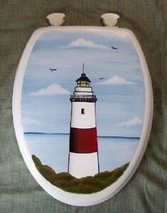 HAND PAINTED TOILET SEAT/LIGHTHOUSE/NAUTICAL/ELONGATED/NEW DESIGN
