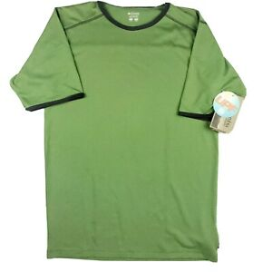 COLUMBIA UPF 15 Boys Mountain Tech Ringer Tee Short Sleeve Green Gray XL