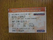 10/04/2004 BIGLIETTO: Walsall V Burnley. questo oggetto è stato ispezionato, gli eventuali requisiti