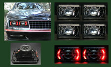 H4656 H4666 H4651 H4646 4 Red LED Halo Black Chrome Projector Headlights 4x6