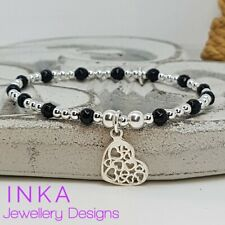 Inka 925 Sterling Silver & Onyx beaded Stacking Bracelet with Multi Heart charm