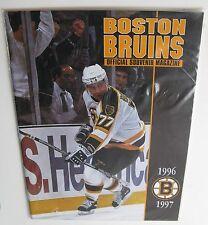 """1996-1997 """"Boston Bruins Souvenir Magazine"""" + 11/23/96 Lineups Sheet Sabres"""
