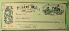 Bank Check, Bank of Idaho, Blackfoot, Idaho, Vignette of cowboy roping steer