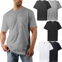 Mens Basic T Shirts Pocket Tee Short Sleeve Crew neck Premium Cotton Lightweight