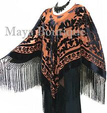 Tangerine Black Silk Burnout Velvet Poncho Kimono Top Shawl Maya Matazaro