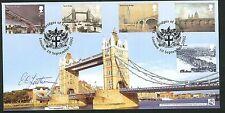 2002 puentes de Londres Fdc-Crest PMK-firmado por Eric sutherns (Puente Master)