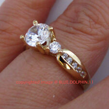 Antique Genuine Solid 9K Yellow Gold Engagement Wedding Rings Simulated Diamonds