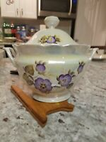 Russia Violet 87p HandPainted Porcelain Dinnerware Set accessories with Luster