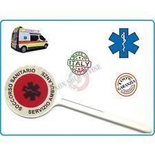 Paletta Segnaletica Ambo le Parti Rosse Soccorso Sanitario Croce Esculappio Serv