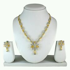 Indian Ethnic Designer Antique Gold /Rodium Plated Necklace Earring Jewel Set