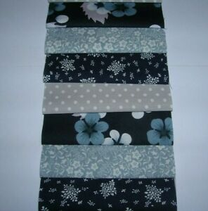 """40 x 4"""" SQUARES CHARM PACK BLUE& GREY  100% COTTON PATCHWORK/QUILTING BGY"""