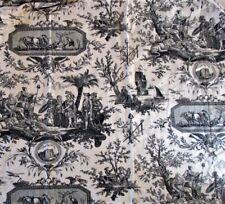 Vintage Curtains Toile de Jouy pair drapes Ivory & Black Fabric