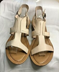 Clarks Cream Leather Wedge T Bar Sandals Size 5.5/38.5