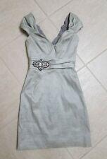 Badgley Mischka Silver metallic silver dress w/great Jeweled detailed waist Sz 2