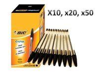 BIC Cristal Moyen Balle Stylos BIC Cristal Biros en Noir x10,x20,x50