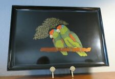 "Large Couroc 18"" Tray with Two Green-Cheeked Amazon Parrot Birds"