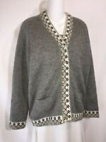 Vintage Gray Wool Icelandic Fair Isle Lined Button Down Cardigan Sweater S M L