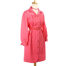 60s OLEG CASSINI Silk Shirt Dress - Bubblegum Pink Shirtfront w/ Matching Belt
