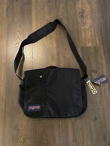 Vintage JANSPORT Black Large Crossbody Messenger Shoulder Bag NWT New with Tags