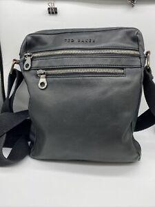 Ted Baker Mens Black Leather Style Shoulder Bag iPad size