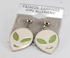 Vintage Alien Earrings White Green Enamel SIlver Metal Extraterrestrial Jewelry
