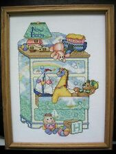 New Baby Completed Cross Stitch Framed Animals Baby Nursery Bobbie G 1999