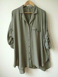 NewEx Evans Khaki Lapel Collar Button Up Front Relaxed Shirt/Blouse Plus Size 18