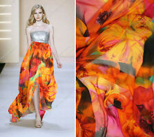 100% PURE SILK CHIFFON ORANGE FLORAL PRINT BY THE METER S018 FREE SHIPPING