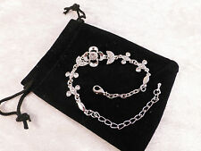 Sparkling Silver Toned & Faux Crystal Flower Bracelet + Free Gift Bag