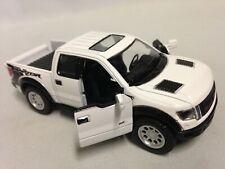 """2013 Ford F-150 SVT Raptor SuperCrew 5"""" Diecast 1:46 PullBack Kinsmart Toy White"""