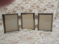 Vintage Picture Frame Silver Metal Shabby Ornate Filigree Design Set of 3 3x4 Y