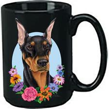 Doberman Black & Tan Cropped Ceramic 15oz Black Ace Coffee Mug
