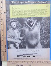 1963 RUGER 44 Magnum auto carbine rifle gun w/ museum gorilla Vtg Print Ad 9518