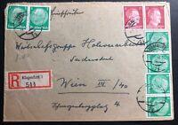 1942 Klagenfurt Germany Registered Cover To Vienna